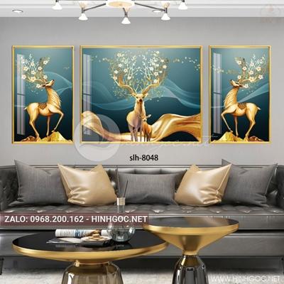 Tranh bộ 3 bức, tranh mẹ con nhà hươu, cây, dải vân nghệ thuật-slh-8048