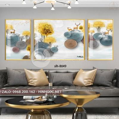 Tranh bộ 3 bức, hươu và cây hình họa tiết trừu tượng-slh-8049