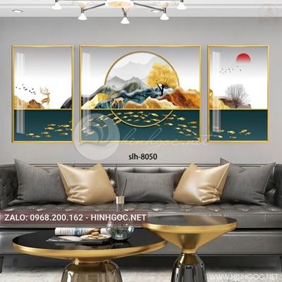 Tranh bộ 3 bức, hươu và đàn cá vàng trừu tượng-slh-8050