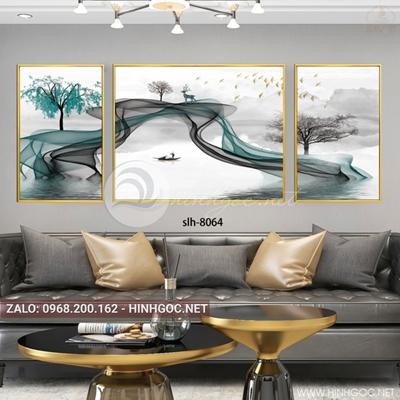Tranh bộ 3 bức ghép dải vân, thuyền, chim trên sông-slh-8064