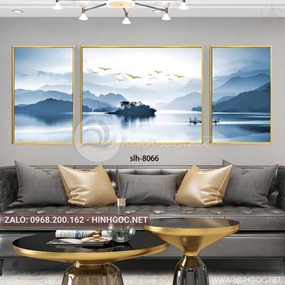 Tranh bộ 3 bức phong cảnh hữu tình, núi và biển-slh-8066