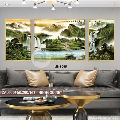 Tranh bộ 3 bức phong cảnh hữu tình, núi và thác nước-slh-8069