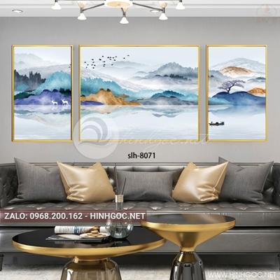 Tranh bộ 3 bức phong cảnh hữu tình, núi và sông nước-slh-8071