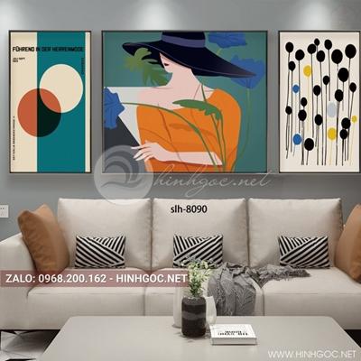 Tranh bộ 3 bức, tranh thời trang cô gái và hình tròn họa tiết-slh-8090