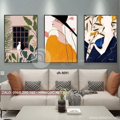 Tranh bộ 3 bức, tranh thời trang cô gái và đôi mèo bên cửa sổ-slh-8091