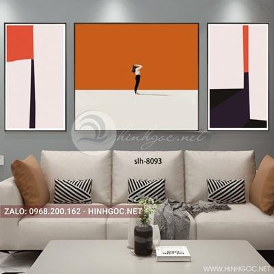 Tranh bộ 3 bức, tranh thời trang cô gái và lá cờ-slh-8093