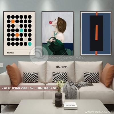 Tranh bộ 3 bức, tranh thời trang cô gái và hình tròn họa tiết-slh-8096