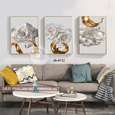 Tranh bộ 3 bức, bông hoa trắng viền vàng kim nghệ thuật trang trí-slh-8132