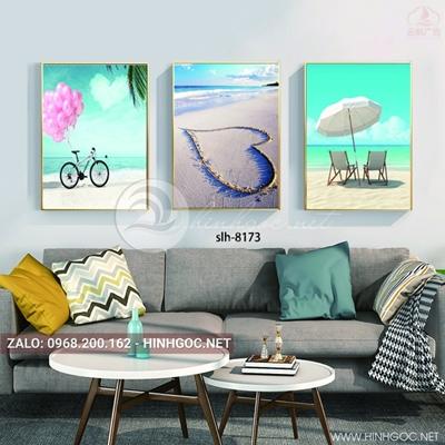 Tranh bộ 3 bức, phong cảnh biển hoàng hôn, bãi biển hình trái tim-slh-8173