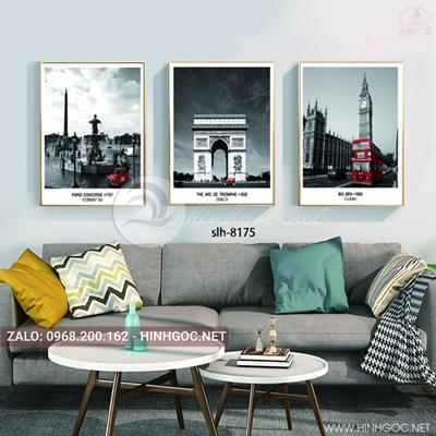 Tranh bộ 3 bức, tranh phong cảnh những ngôi nhà cổ và ô tô-slh-8175