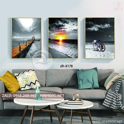 Tranh bộ 3 bức, tranh phong cảnh biển, cây cầu chiều hoàng hôn-slh-8178