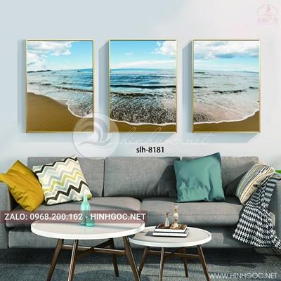 Tranh bộ 3 bức ghép, phong cảnh biển, sóng vỗ dịu êm-slh-8181