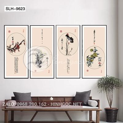 Tranh bộ 4 bức, tranh tứ quý các loại hoa bốn mùa-slh-9623