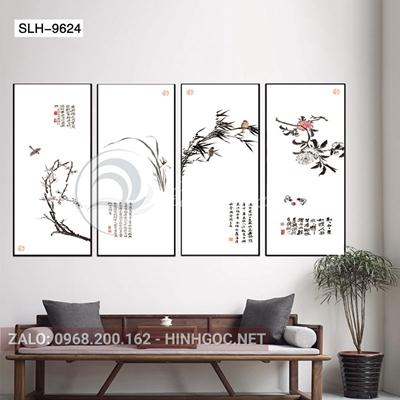 Tranh bộ 4 bức, tranh tứ quý cành hoa và chim-slh-9624