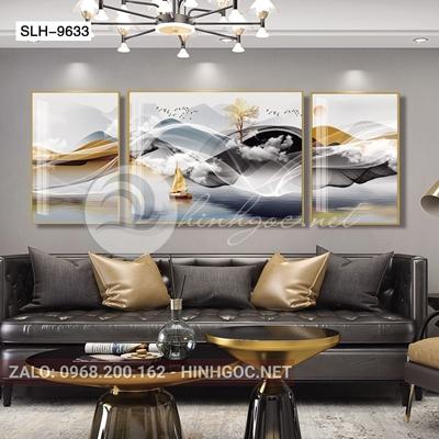 Tranh bộ 3 bức, dải vân nghệ thuật và đàn chim-slh-9633