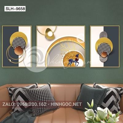 Tranh bộ 3 bức, tranh hươu, lông vũ và hình line art-slh-9658