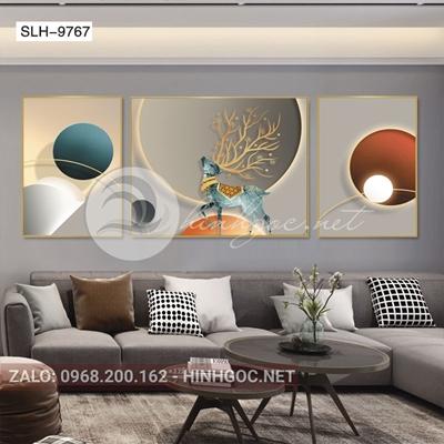 Tranh bộ 3 bức, tranh con hươu và hình line art-slh-9767