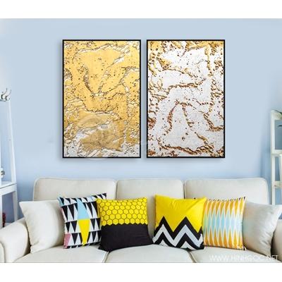Tranh trừu tượng vẩy sơn vàng STTV10-50