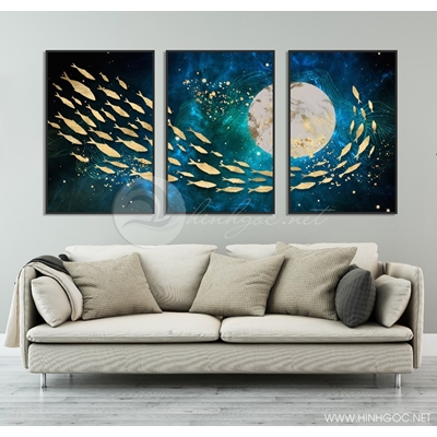 Tranh bộ đàn cá bơi lội dưới ánh trăng TB3-122