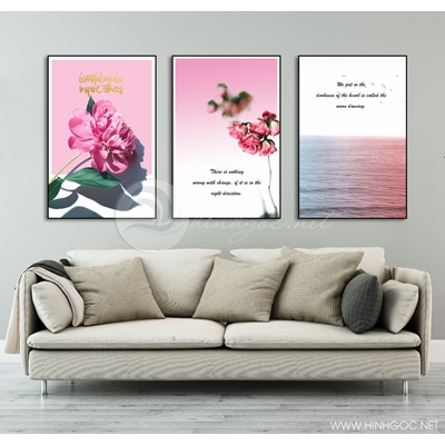 Tranh bộ biển và hoa hồng TB3-84