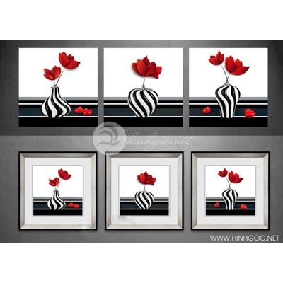 Tranh bộ nhiều bức lọ hoa đỏ-TDB28