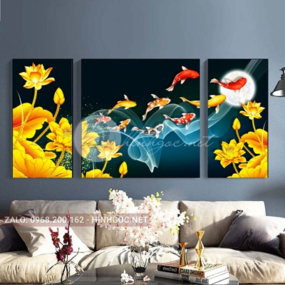 Tranh bộ 3 bức, cá chép và hoa sen-THC-01