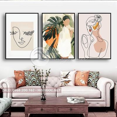 Tranh bộ 3 bức, tranh chân dung phác họa cô gái-THC-104
