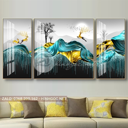 Tranh bộ 3 bức, tranh con hươu và dải vân nghệ thuật-THC-105
