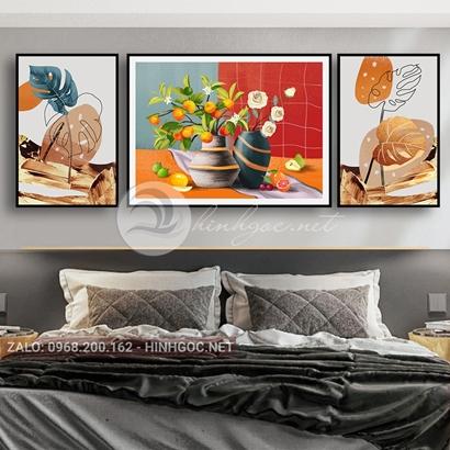 Tranh bộ 3 bức, tranh lọ hoa và lá nghệ thuật-THC-109