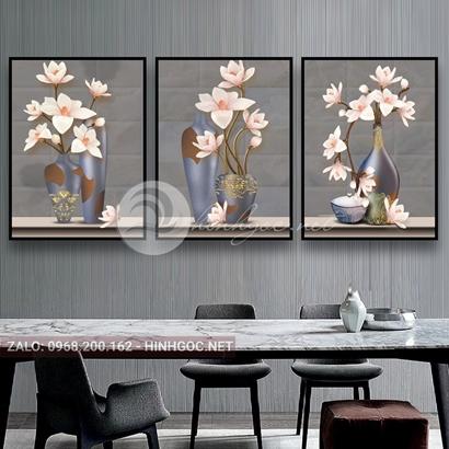 Tranh bộ 3 bức, tranh lọ hoa đang nở-THC-114