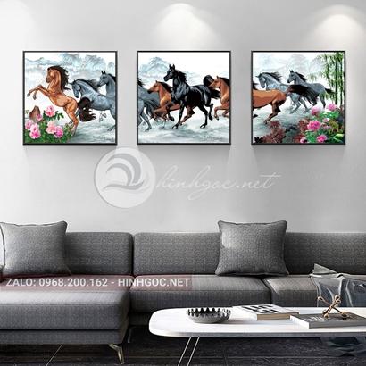 Tranh bộ 3 bức, tranh mã đáo thành công ngựa và hoa mẫu đơn-THC-119
