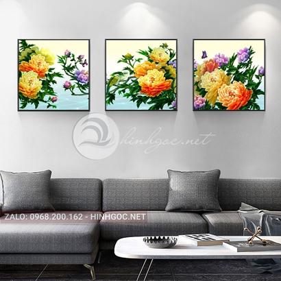 Tranh bộ 3 bức, tranh hoa mẫu đơn và chim-THC-120