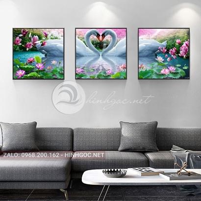 Tranh bộ 3 bức, tranh uyên ương đôi chim thiên nga love-THC-121