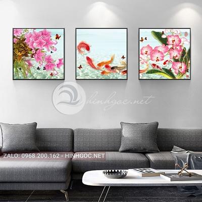 Tranh bộ 3 bức, tranh cá chép và hoa-THC-123