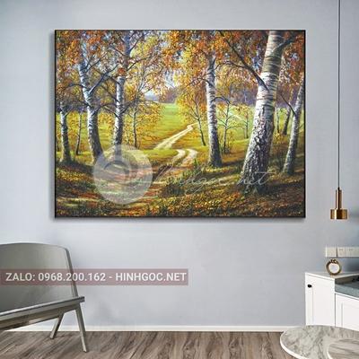 Tranh phong cảnh thiên nhiên, rừng cây tươi xanh-THC-126