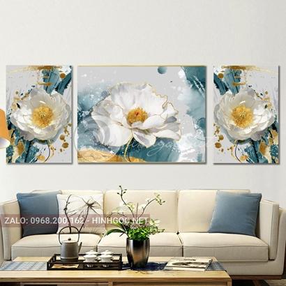 Tranh bộ 3 bức, tranh bông hoa đang nở-THC-129