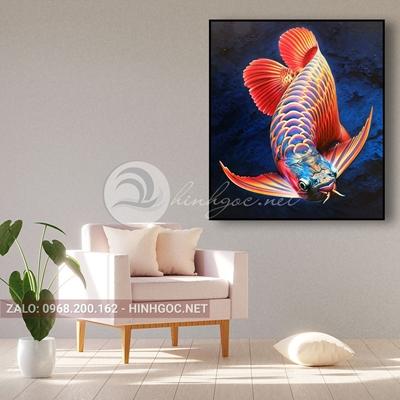 Tranh cá chép hóa rồng-THC-130