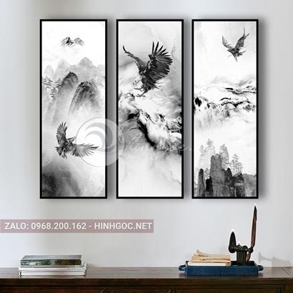 Tranh bộ 3 bức, chim đại bàng bay trên núi-THC-131