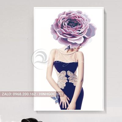 Tranh chân dung cô gái thời trang cài hoa-THC-132