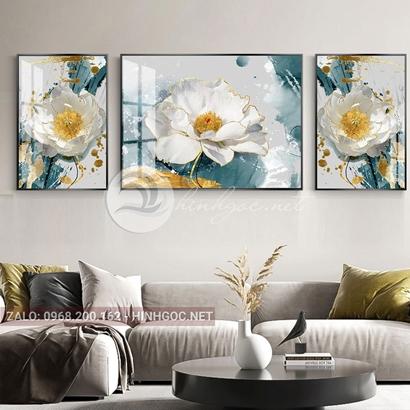 Tranh bộ 3 bức, tranh bông hoa đang nở-THC-133