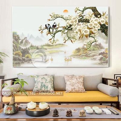 Tranh phong cảnh thiên nhiên, chim đậu trên cành hoa-THC-136