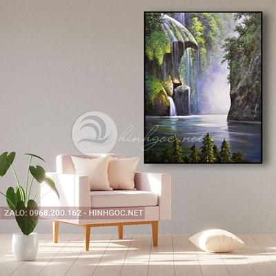 Tranh phong cảnh thác nước trên núi đá-THC-139