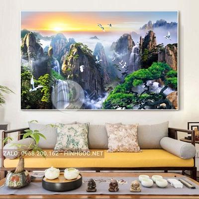 Tranh phong cảnh sơn thủy, chim và núi đẹp-THC-140