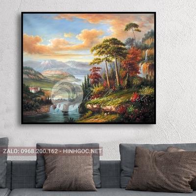 Tranh thủy mặc, phong cảnh cây trong rừng-THC-146