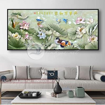 Tranh hoa sen và đôi chim love-THC-147