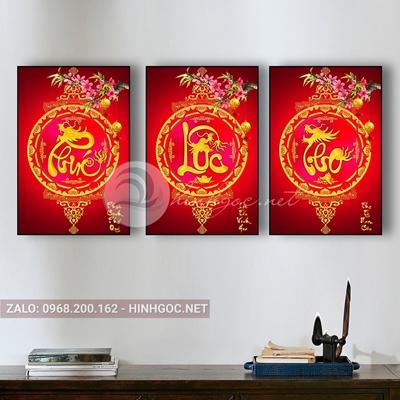 Tranh bộ 3 bức, tranh hoa đào phúc lộc thọ-THC-15