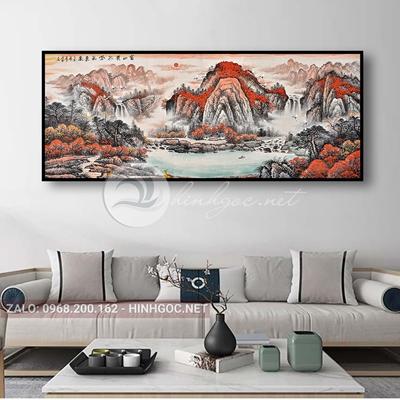Tranh thủy mặc, phong cảnh dãy núi trùng điệp-THC-157