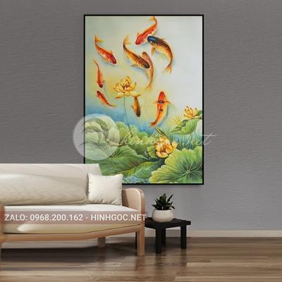 Tranh cá chép và hoa sen đẹp-THC-158