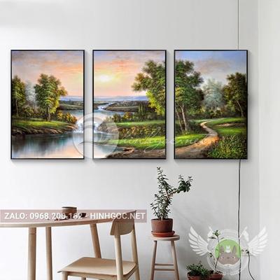 Tranh bộ 3 bức, phong cảnh rừng cây và suối-THC-159