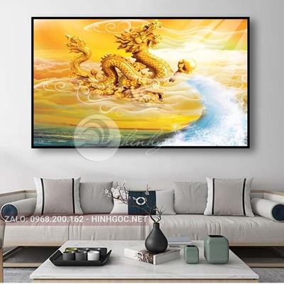 Tranh treo tường, con rồng vàng may mắn-THC-162